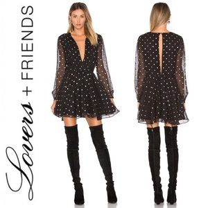 Lovers + Friends Hayley Party Dress in Gold Dot S